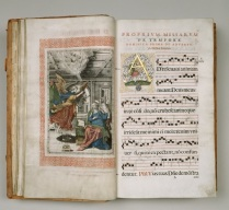 ILLUS 16 'Annunciation' and opening page of the chant for the Propers for the First Sunday in Advent%2