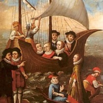 ILLUS 23 Mary Ward and her recusant companions cross the sea to a convent in Flanders.