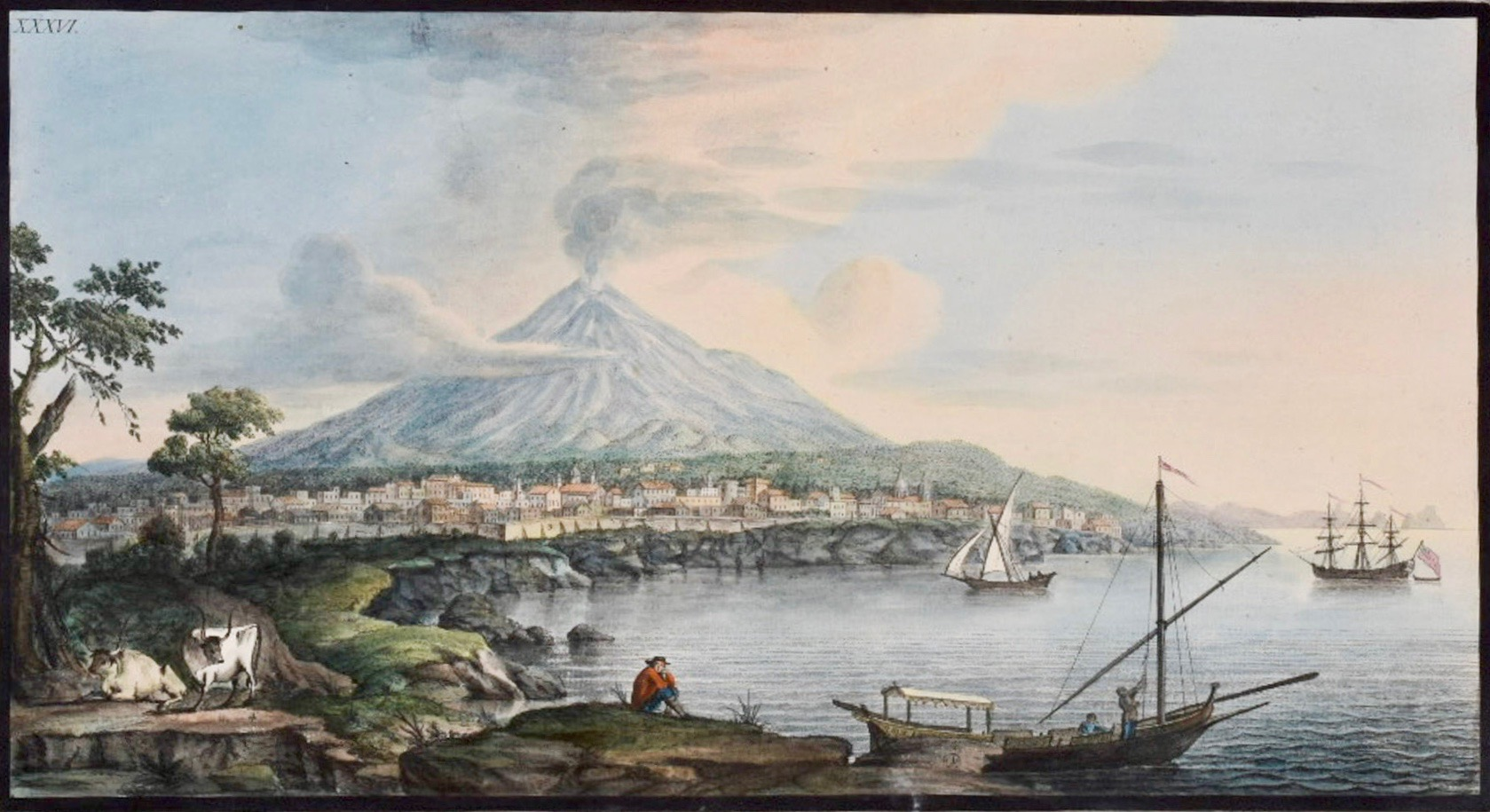 5 View of Mount Etna from Catania (painting by Pietro Fabris, published as plate 36 in Hamilton' Campi Phlegraei, but caution) copy